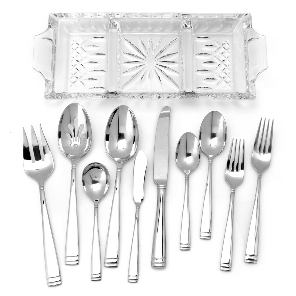 439-715 - Waterford® Crystal 65-Piece 18/10 Stainless Steel Flatware Set w/ Lismore Tray