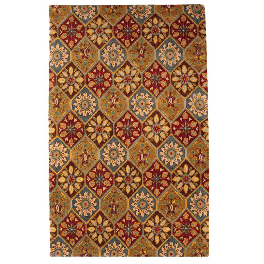 439-718 - Bashian Rugs Persian Kerman Paneled Design Hand-Tufted 100% Wool Rug