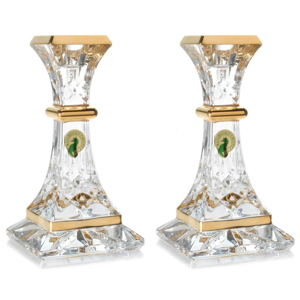 "439-743 - Waterford® Crystal Lismore Essence Gold Plated 6"" Candlestick Pair"