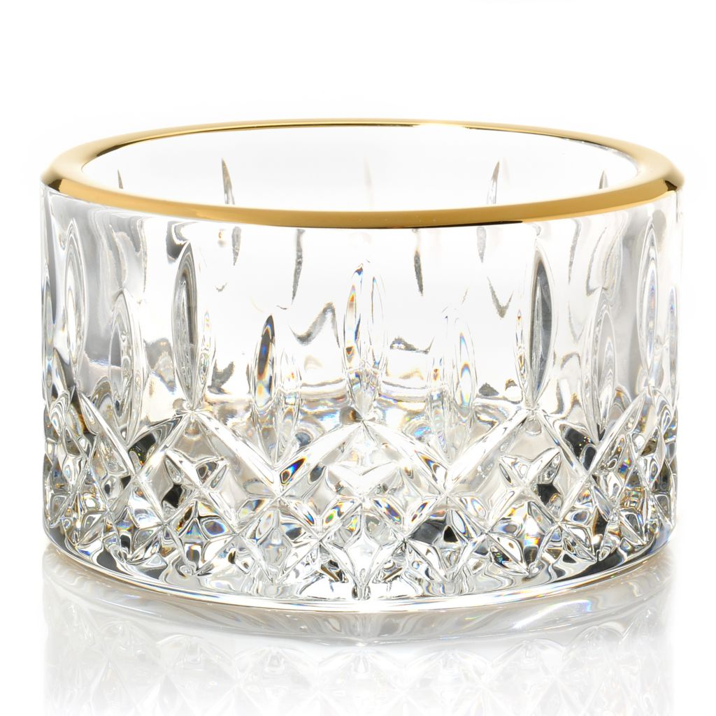 "439-744 - Waterford® Crystal Lismore Essence Gold Plated 5"" Champagne Coaster"