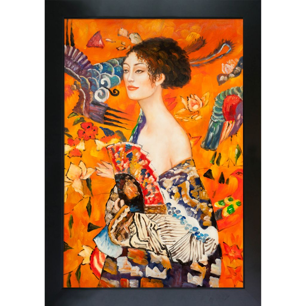 "439-826 - Klimt 24"" x 36"" Signora con Ventaglio Reproduction Framed Painting"