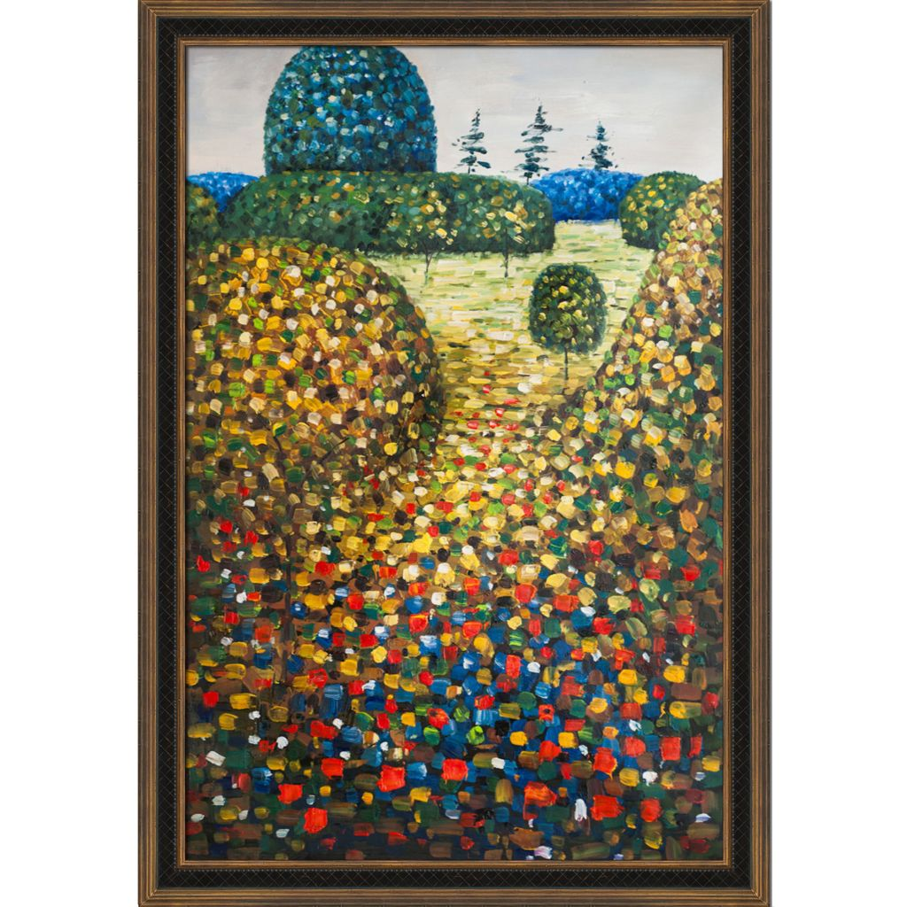 "439-829 - Klimt 24"" x 36"" Field of Poppies Reproduction Framed Painting"