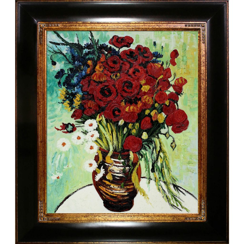 "439-841 - Van Gogh 20"" x 24"" Vase with Daisies and Poppies Reproduction Framed Painting"