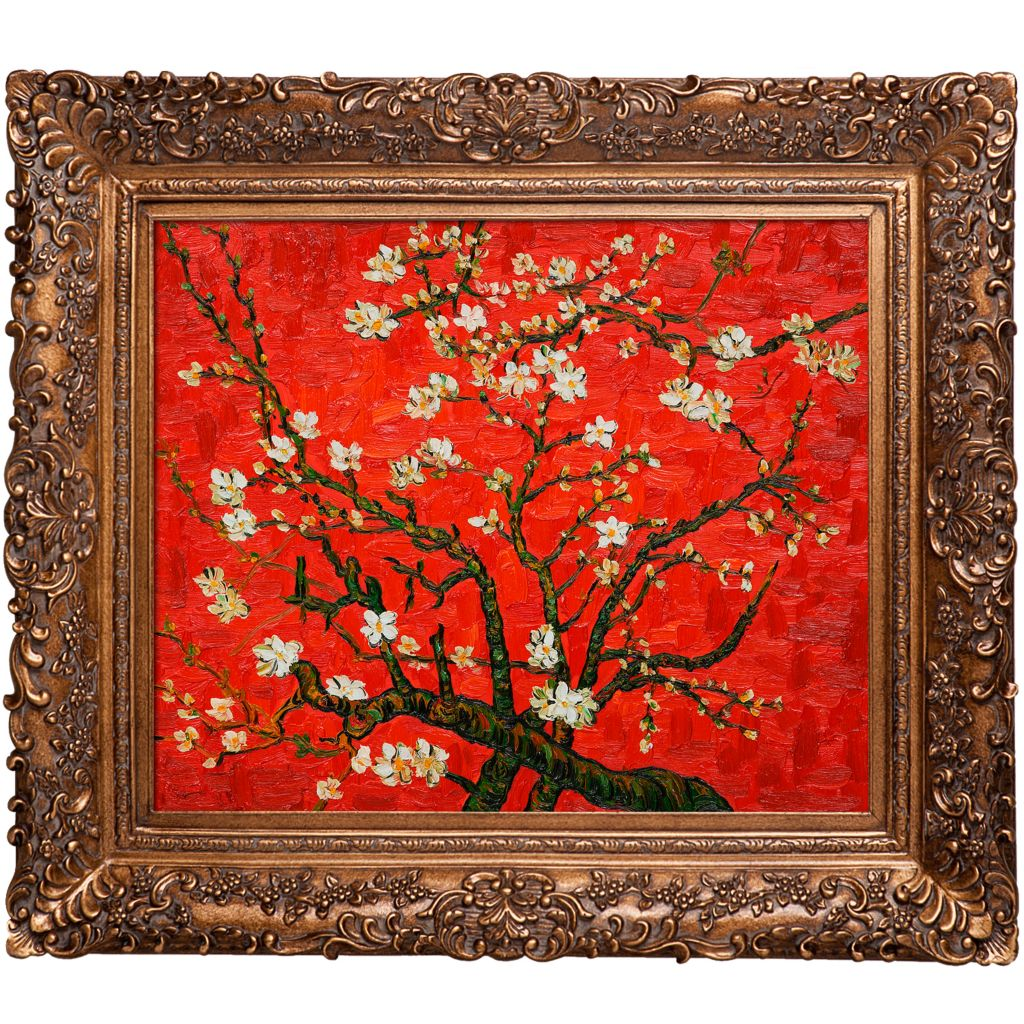 "439-842 - Van Gogh 20"" x 24"" Branches Almond Tree in Blossom (Red) Reproduction Framed Painting"