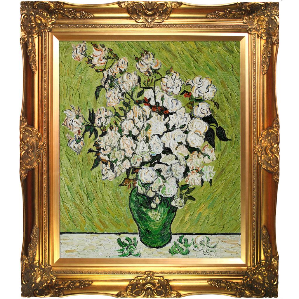 "439-843 - Van Gogh 20"" x 24"" Vase with Roses Reproduction Framed Painting"