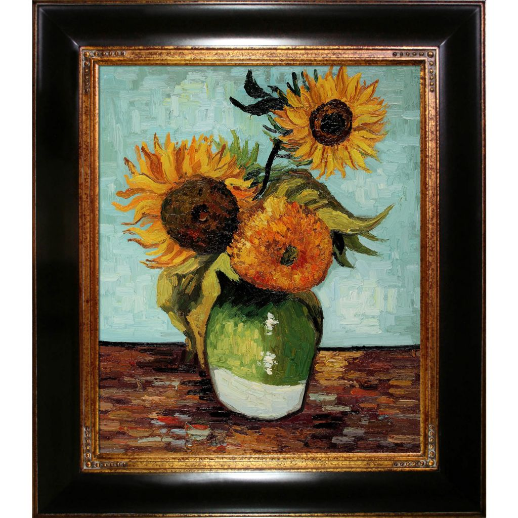 "439-845 - Van Gogh 20"" x 24"" Sunflowers, First Version Reproduction Framed Painting"