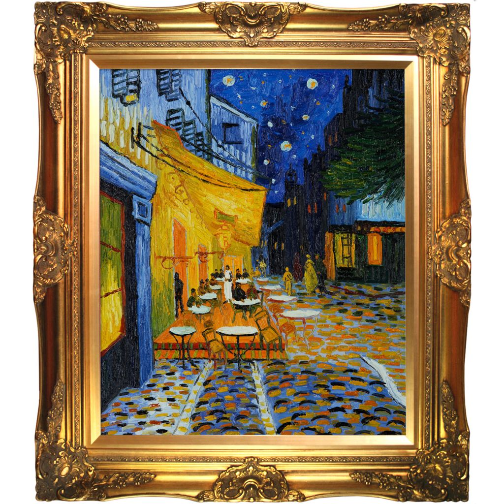 "439-846 - Van Gogh 20"" x 24"" Cafe Terrace at Night Reproduction Framed Painting"