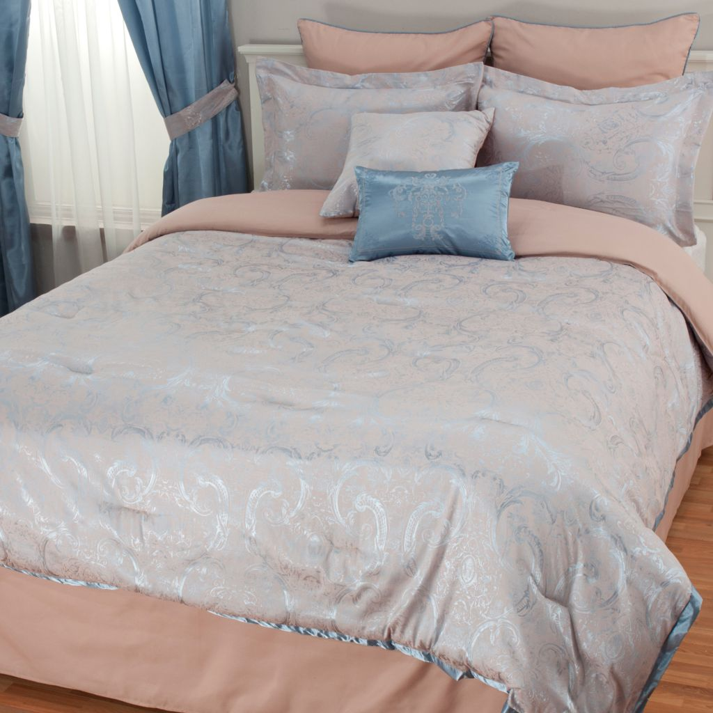 439-910 - North Shore Linens™ Floral Scrollwork Jacquard Eight-Piece Bedding Ensemble