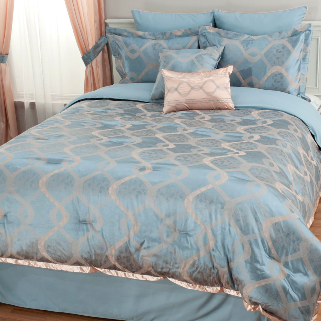 439-912 - North Shore Linens™ Ribbon Jacquard Eight-Piece Bedding Ensemble