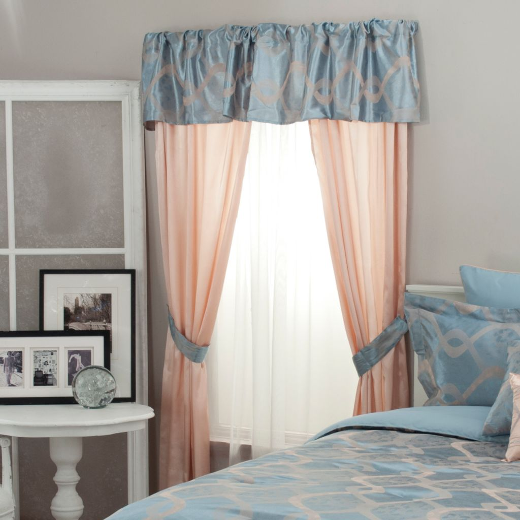439-916 - North Shore Linens™ Ribbon Jacquard Five-Piece Window Set