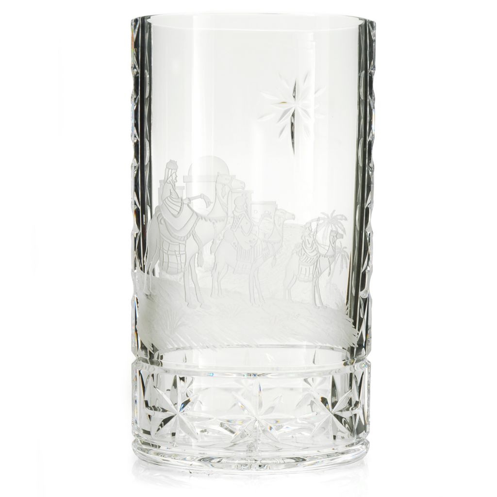 "439-948 - House of Waterford® Three Wise Men 10"" Crystal Oval Vase"