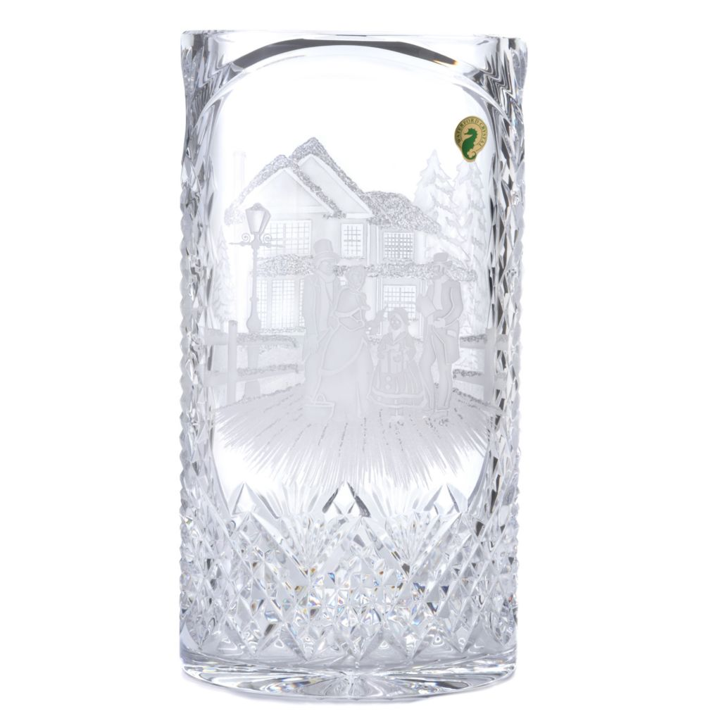 "439-949 - House of Waterford® Christmas Carol Singers 12"" Crystal Oval Vase"