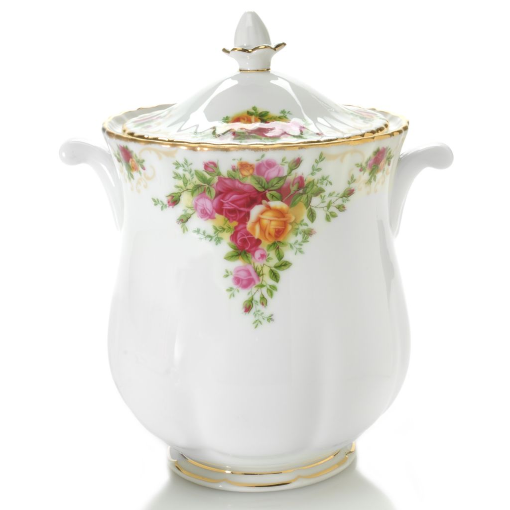 "439-963 - Royal Albert® 10"" Old Country Roses Porcelain Jar w/ Lid"
