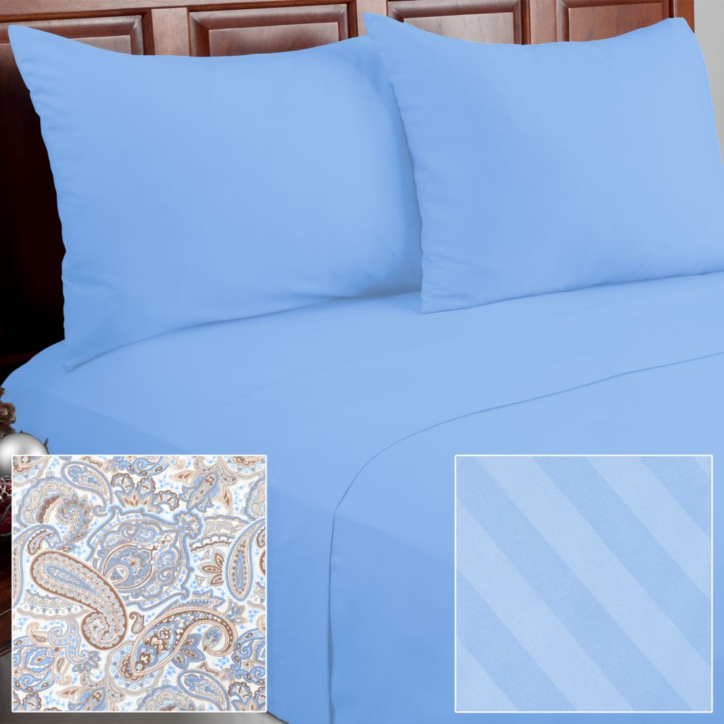 439-969 - Cozelle® 12-Piece Microfiber Solid, Striped & Paisley Sheet Set