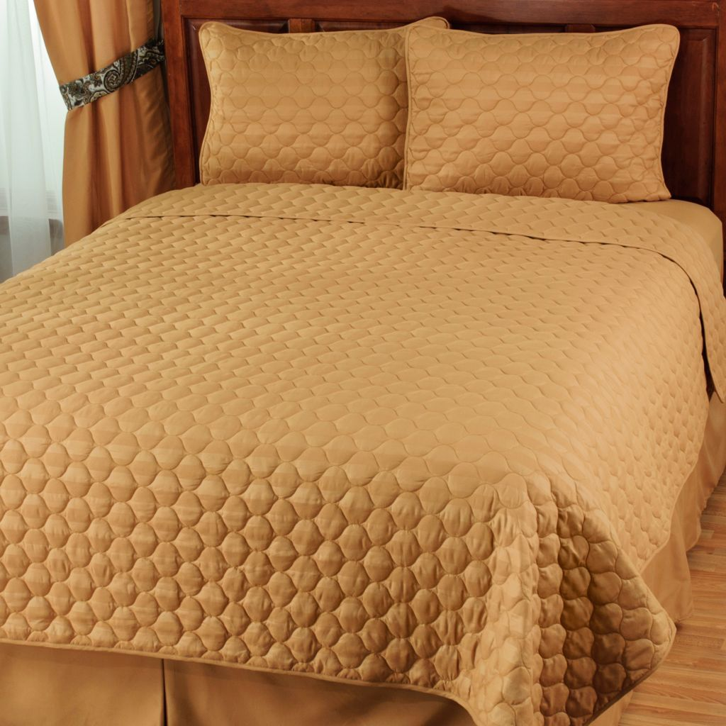 439-972 - Cozelle® Microfiber Reversible Embossed Stripe Quilted Three-Piece Coverlet Set