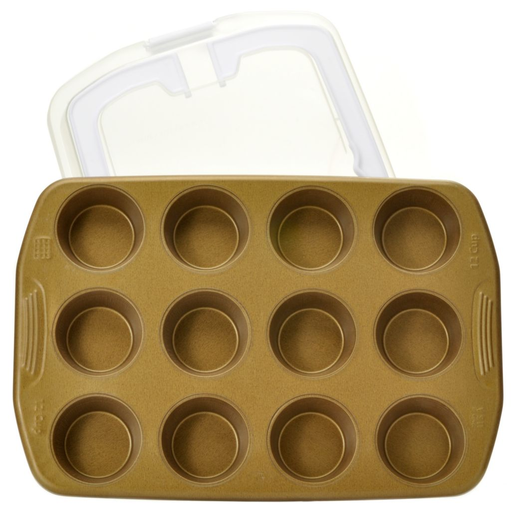 439-987 - Cook's Companion™ Color Nonstick 12-Cup Muffin Pan & Carrying Cover Set