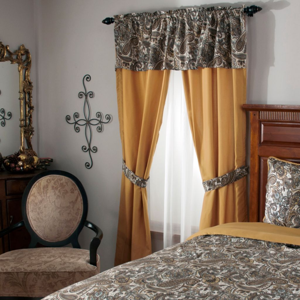 440-038 - Cozelle® Microfiber Paisley & Solid Seven-Piece Window Set