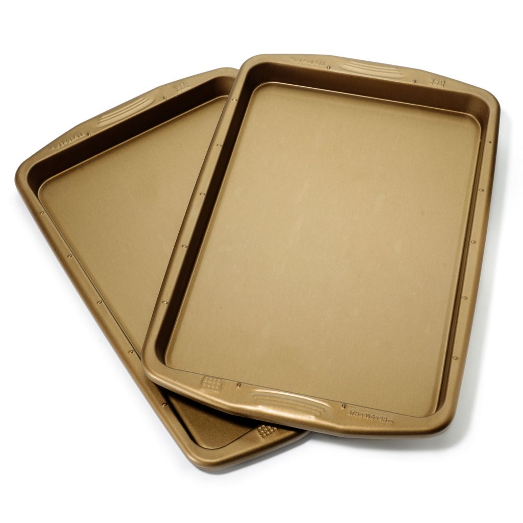 "440-043 - Cook's Companion™ Set of Two Color Nonstick 16"" x 11"" Cookie Sheets"