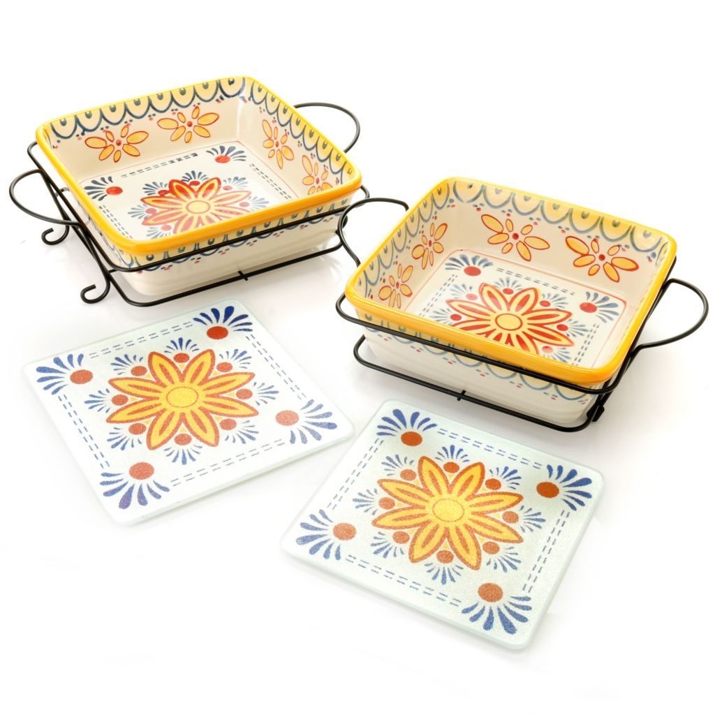 440-063 - Cook's Tradition™ Hand-Painted Ceramic Stoneware Six-Piece Square Bake & Serve Set