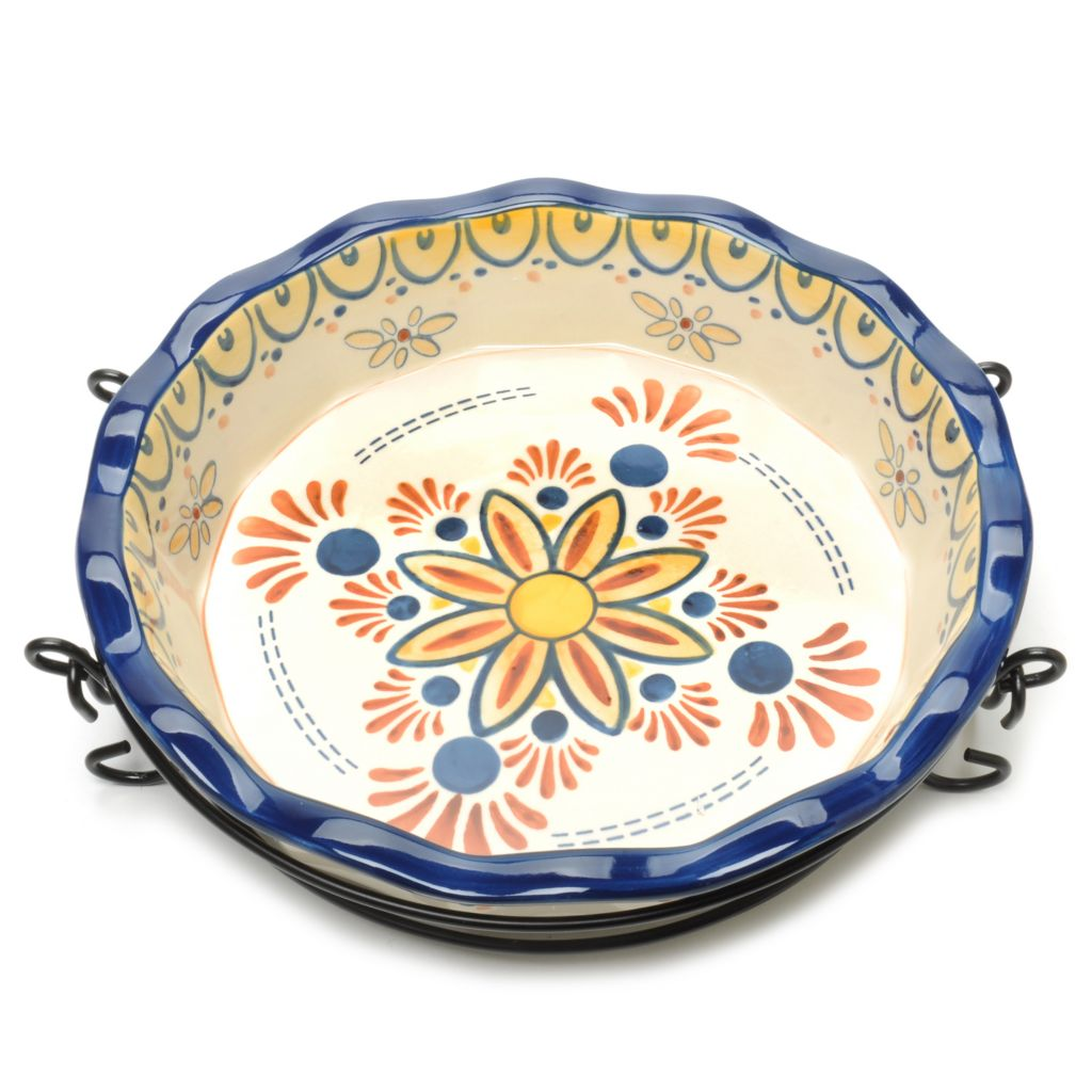 440-188 - Cook's Tradition™ Hand-Painted Ceramic Stoneware Two-Piece Pie Pan & Carrier Set