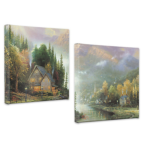 440-266 - Thomas Kinkade ''Simpler Times'' Set of Two 14'' x 14'' Gallery Wraps