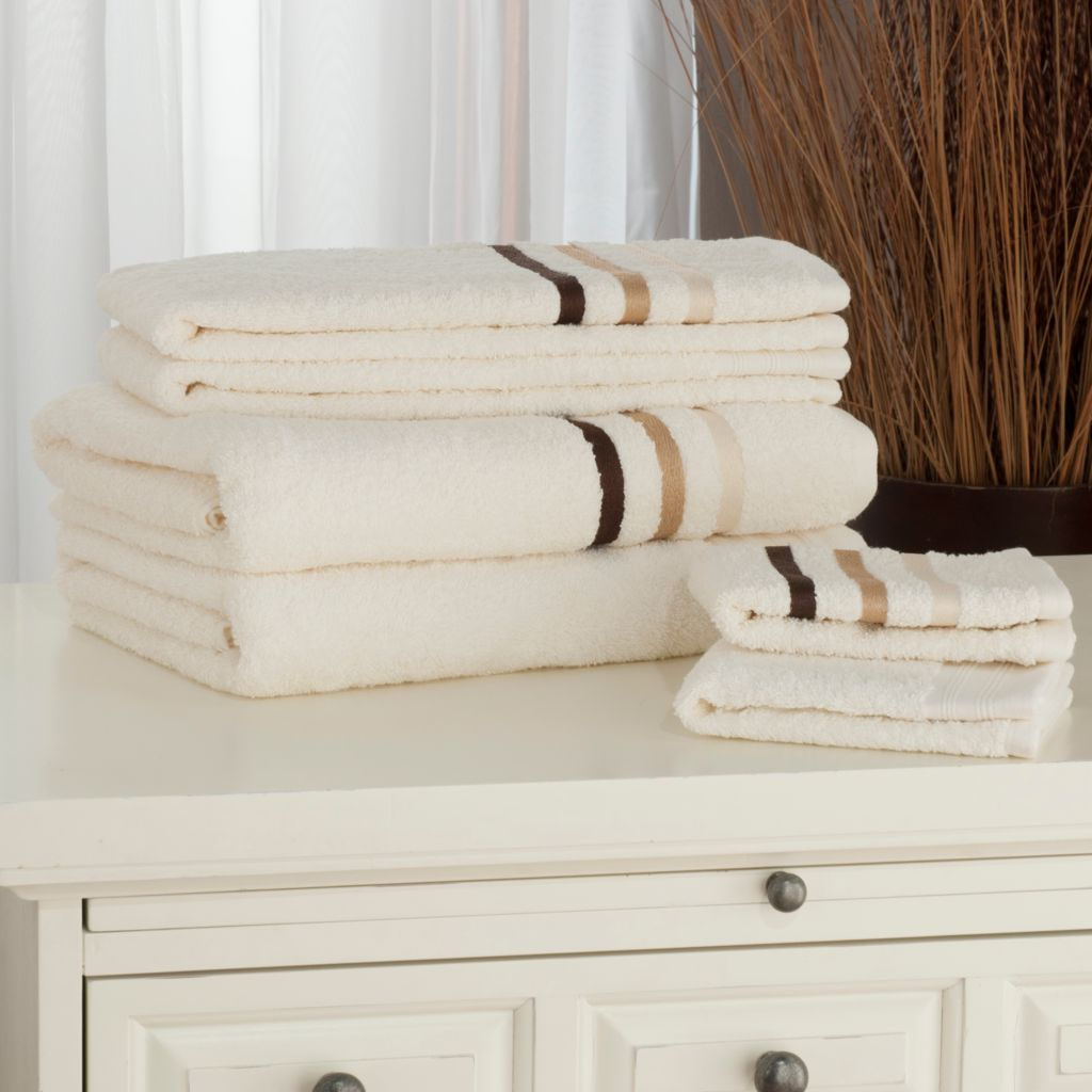 440-292 - North Shore Linens™ Ombre Embroidered Striped & Solid Six-Piece Towel Set