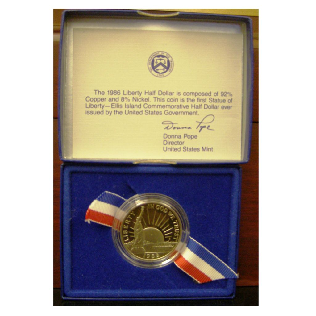 440-299 - 1986 Silver Statue of Liberty 100th Birthday Proof (S) Coin w/ Display Box