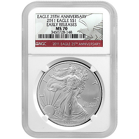 440-307 - 2011 Silver American Eagle 25th Anniversary Early Release MS70 NGC Coin