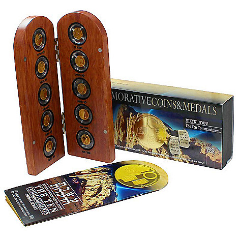 440-314 - 2013 Gold Israel Ten Commandments 10-Piece Medallion Coin Collection