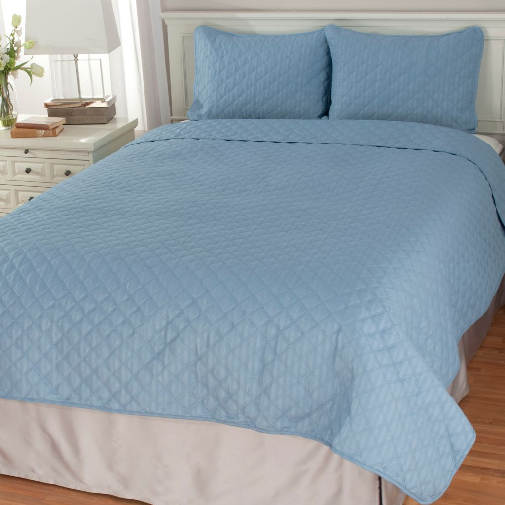 440-322 - Cozelle® Microfiber Embossed Reversible Three-Piece Coverlet Set