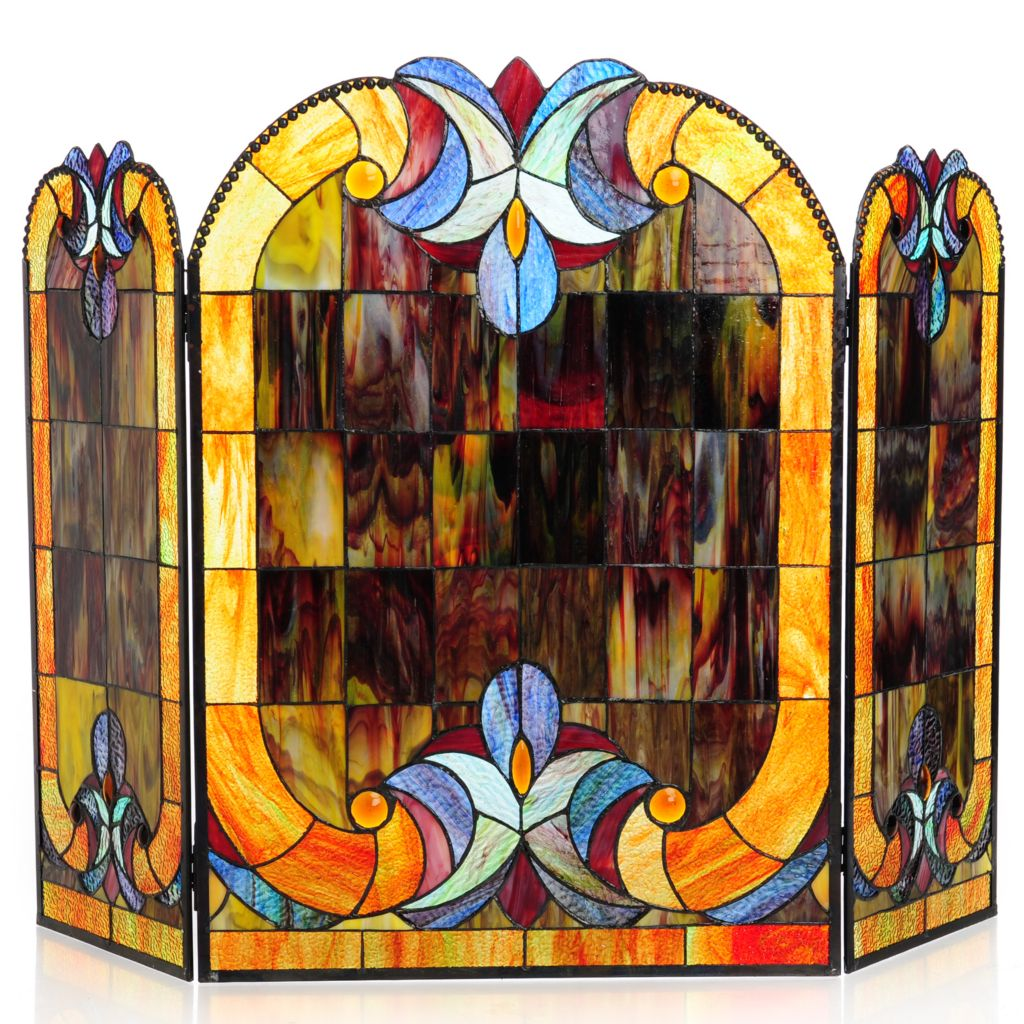 "440-383 - Tiffany-Style 28"" Halston Stained Glass Fireplace Screen"