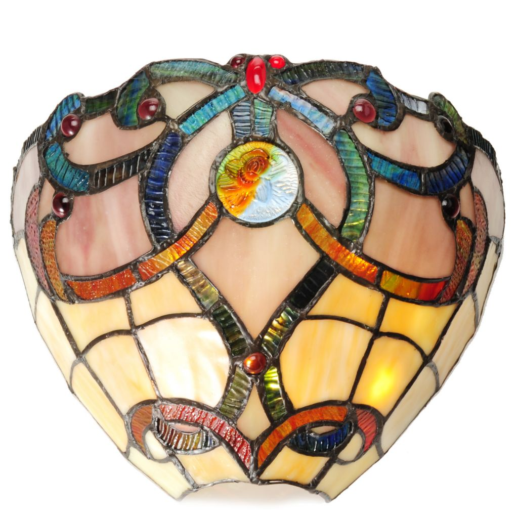 "440-387 - Tiffany-Style 7"" Brandi Wireless LED Stained Glass Wall Sconce"
