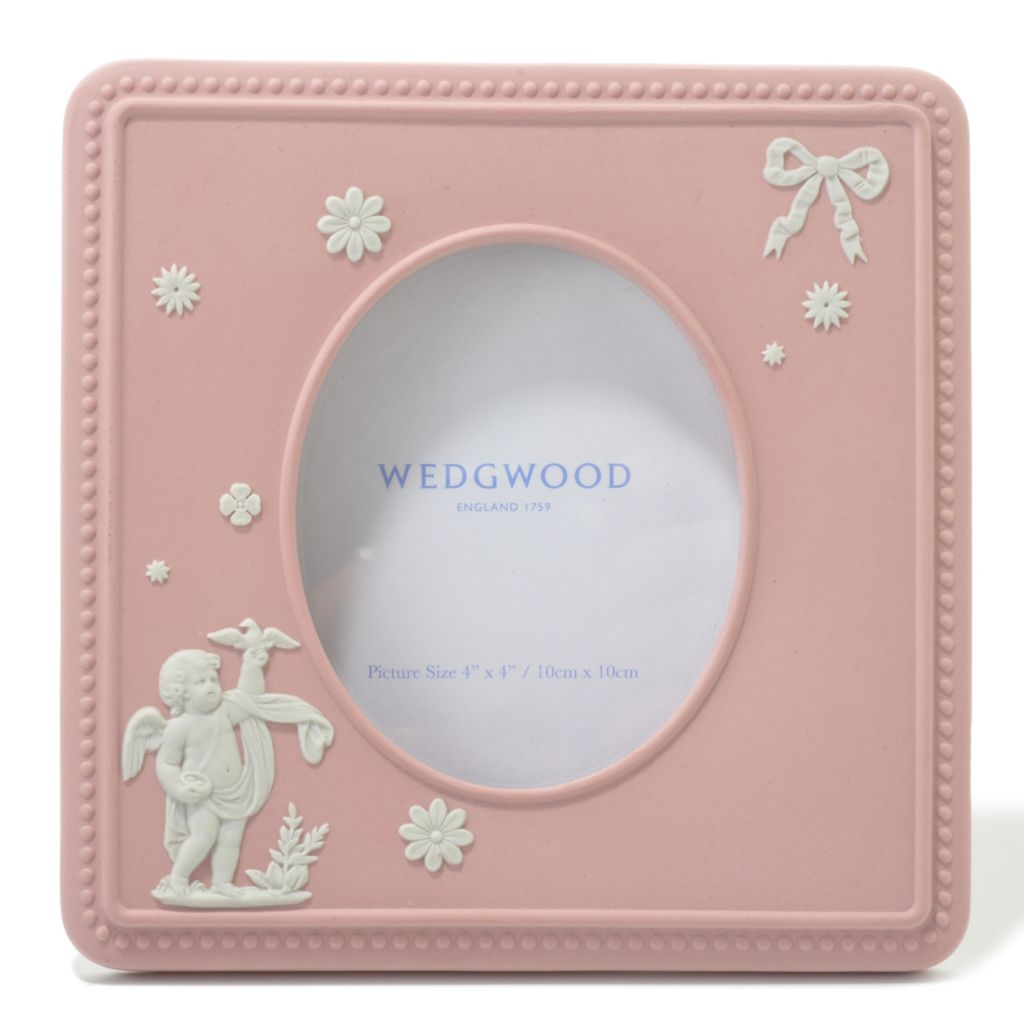 "440-403 - Wedgwood® Pink Cupid 4"" Jasperware Square Frame - Signed by Lord Wedgwood"