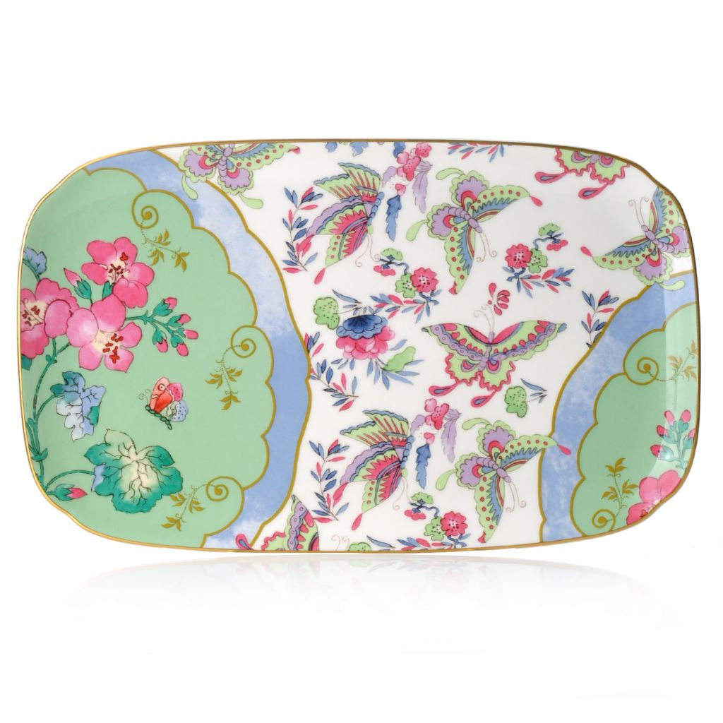 "440-413 - Wedgwood® Butterfly Bloom 10"" Bone China Sandwich Tray"