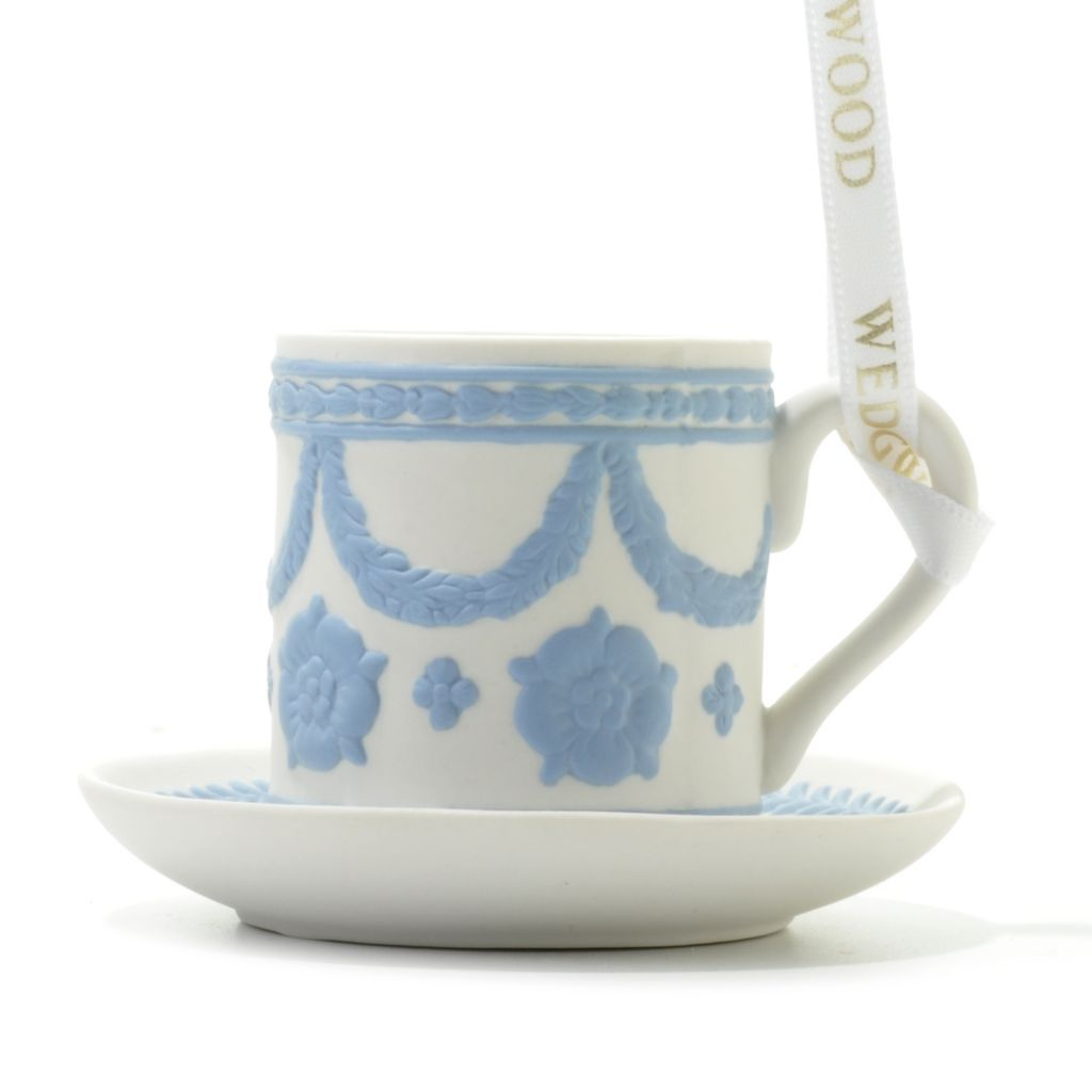 "440-417 - Wedgwood® Blue on White 2"" Jasperware Teacup Ornament"