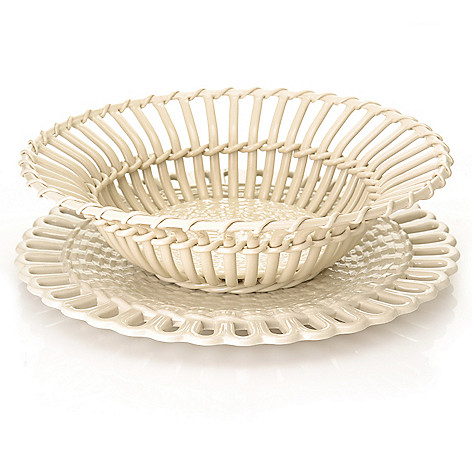 440-424 - Wedgwood® & Bentley® Queen's Ware 3'' Twig Fruit Basket w/ Stand