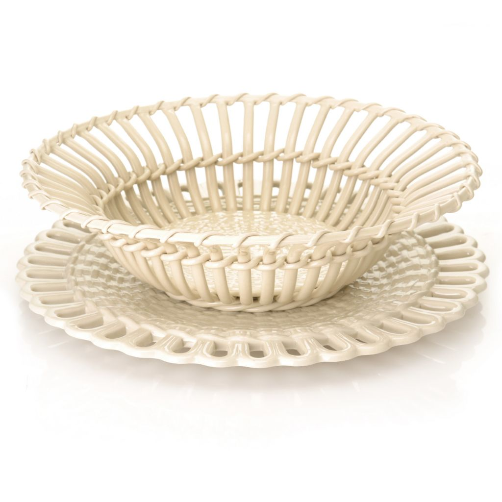 "440-424 - Wedgwood® & Bentley® Queen's Ware 3"" Twig Fruit Basket w/ Stand"