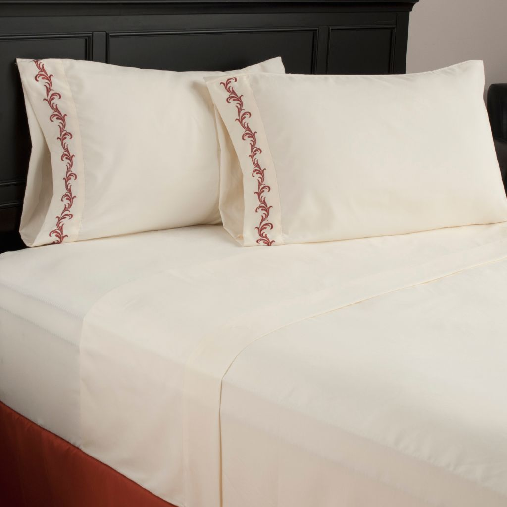 440-429 - North Shore Linens™ Microfiber Scrollwork Embroidered Four-Piece Sheet Set