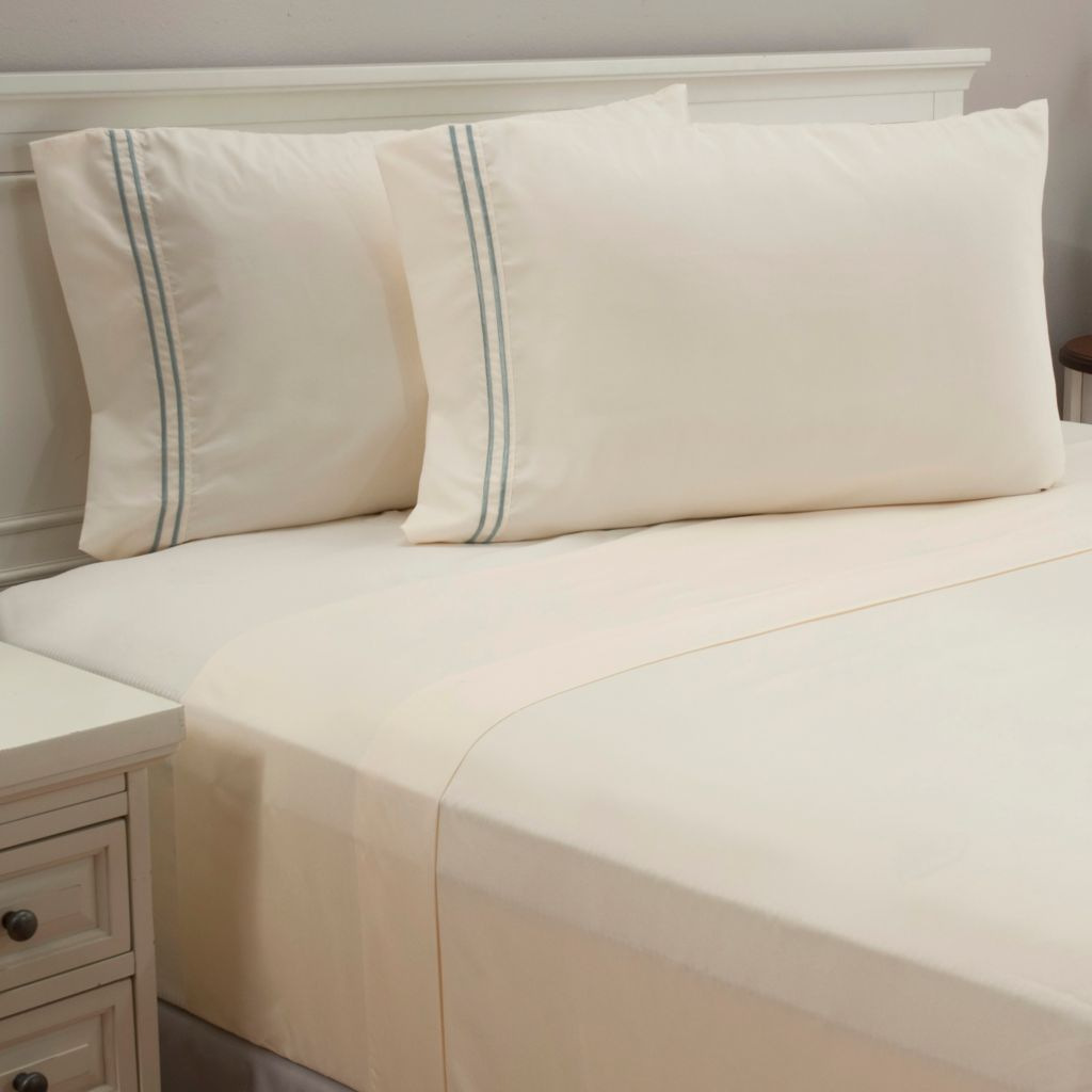 440-430 - North Shore Linens™ Microfiber Double Striped Embroidered Four-Piece Sheet Set