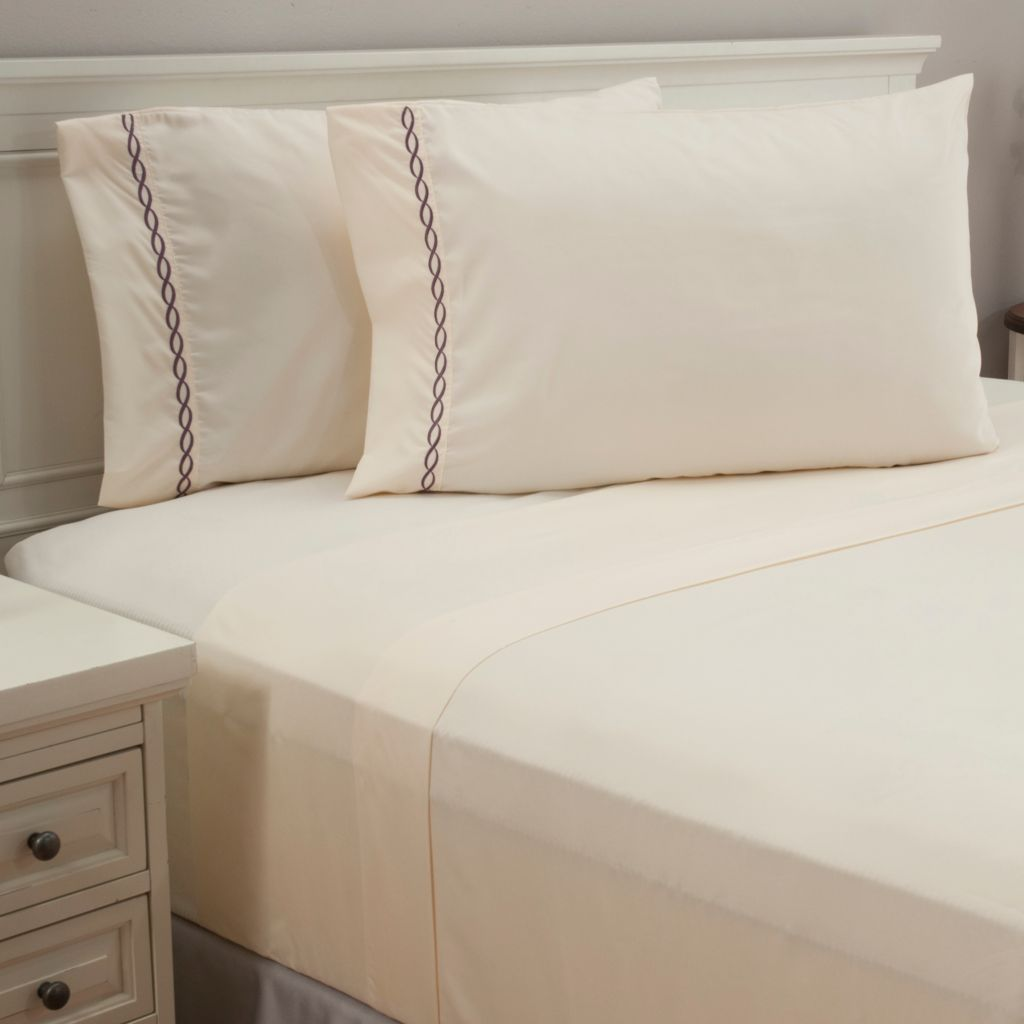 440-431 - North Shore Linens™ Microfiber Chain Link Embroidered Four-Piece Sheet Set