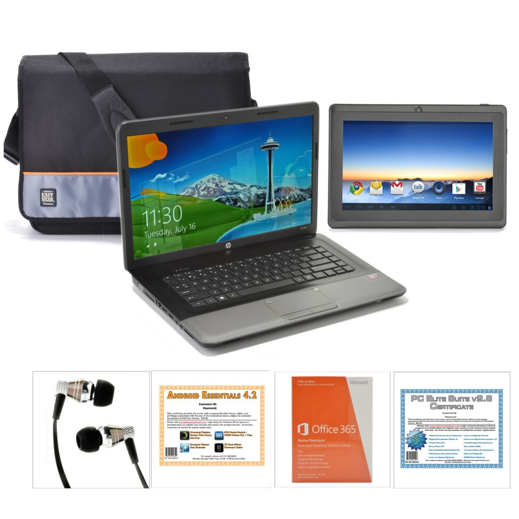 "440-476 - HP 15.6"" LED 4GB RAM/320GB HD Notebook w/ 7"" Tablet, Bag, Earbuds & Software"
