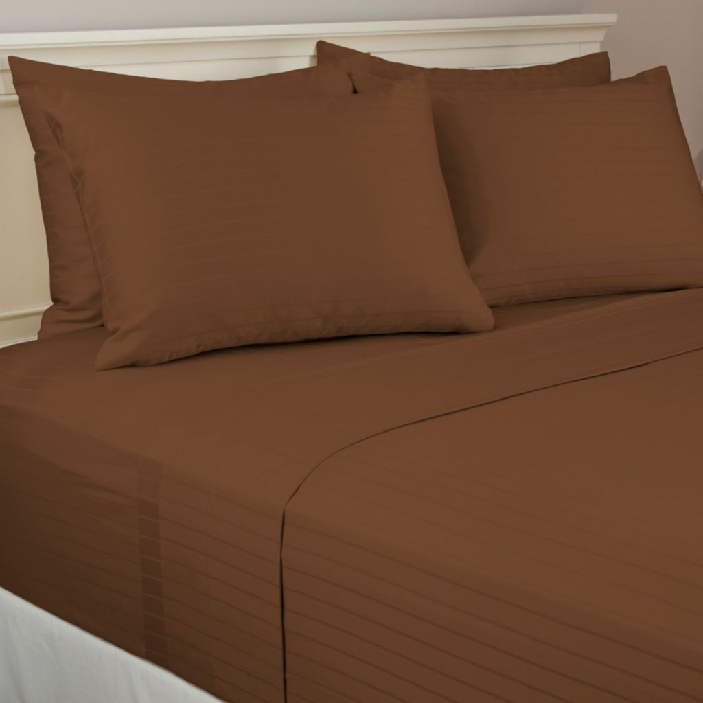 440-482 - North Shore Linens™ 800TC Egyptian Cotton SureSoft® Striped Six-Piece Sheet Set