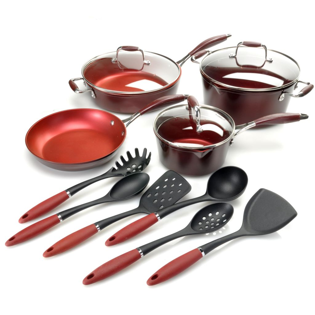 440-497 - Cook's Companion™ 13-Piece Cold Forged Aluminum Colored Cookware & Tool Set