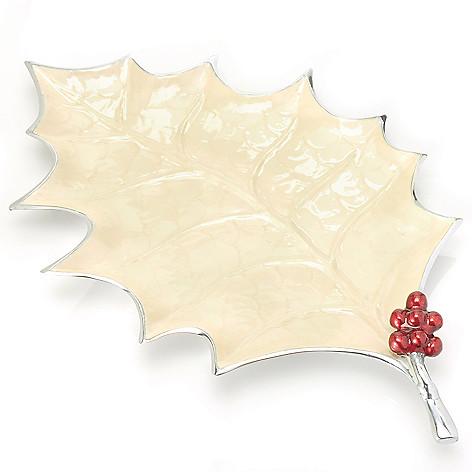 440-567 - Julia Knight® Holly Sprig 22'' Aluminum & Enamel Handmade Platter