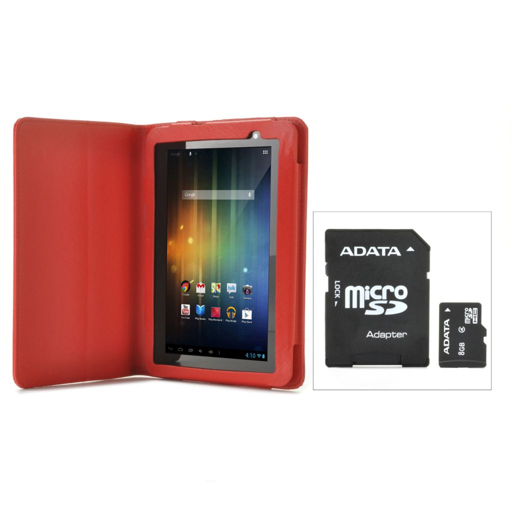 "440-647 - D2® 7"" Google Certified Android™ 4.1 Wi-Fi Tablet w/ Folio Case & 8GB Memory Upgrade"