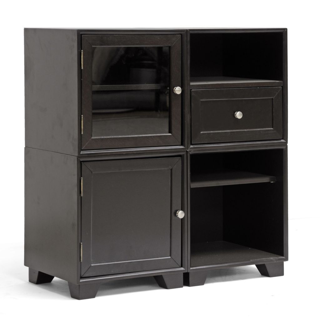 440-682 - Baxton Studio Alaska Dark Brown Modular Storage Cabinet