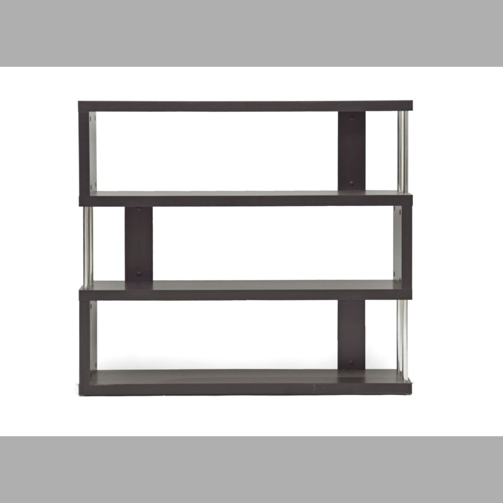 440-690 - Baxton Studio Barnes Dark Brown Three-Shelf Modern Bookcase
