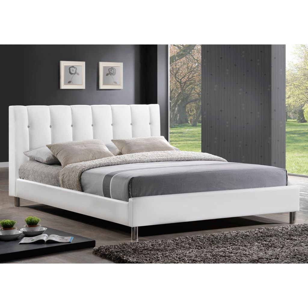 440-698 - Baxton Studio Vino Modern Bed w/ Upholstered Headboard