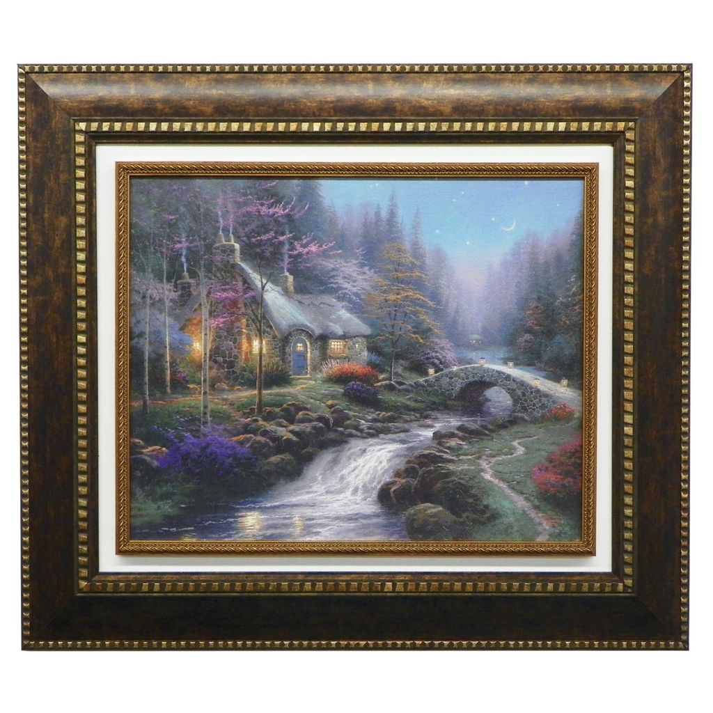 "440-720 - Thomas Kinkade ""Twilight Cottage"" Framed Textured Print"