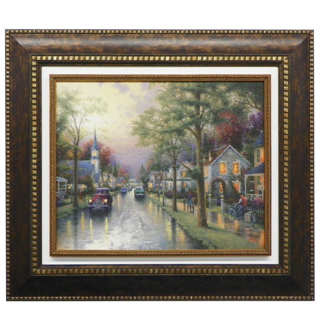 "440-721 - Thomas Kinkade ""Hometown Morning"" Framed Textured Print"